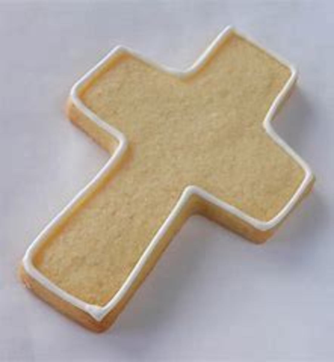 outline cross then fill in with icing for Easter