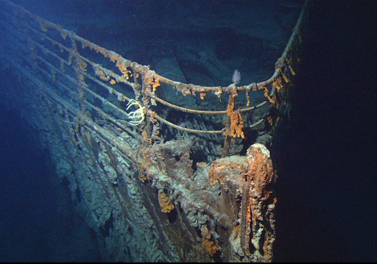 Shipwreck of the Titanic, view of the bow, taken June, 2004, by ROV Hercules.