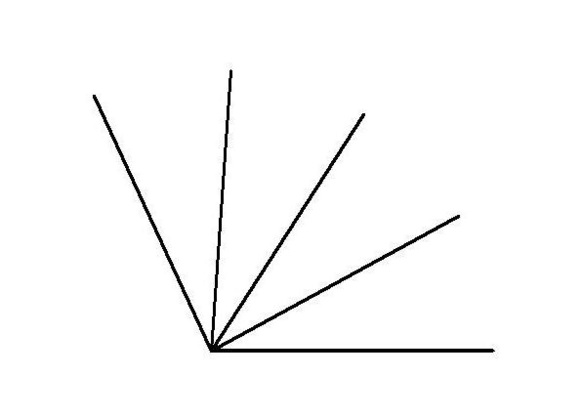 How to divide an obtuse angle into 4 equal parts: