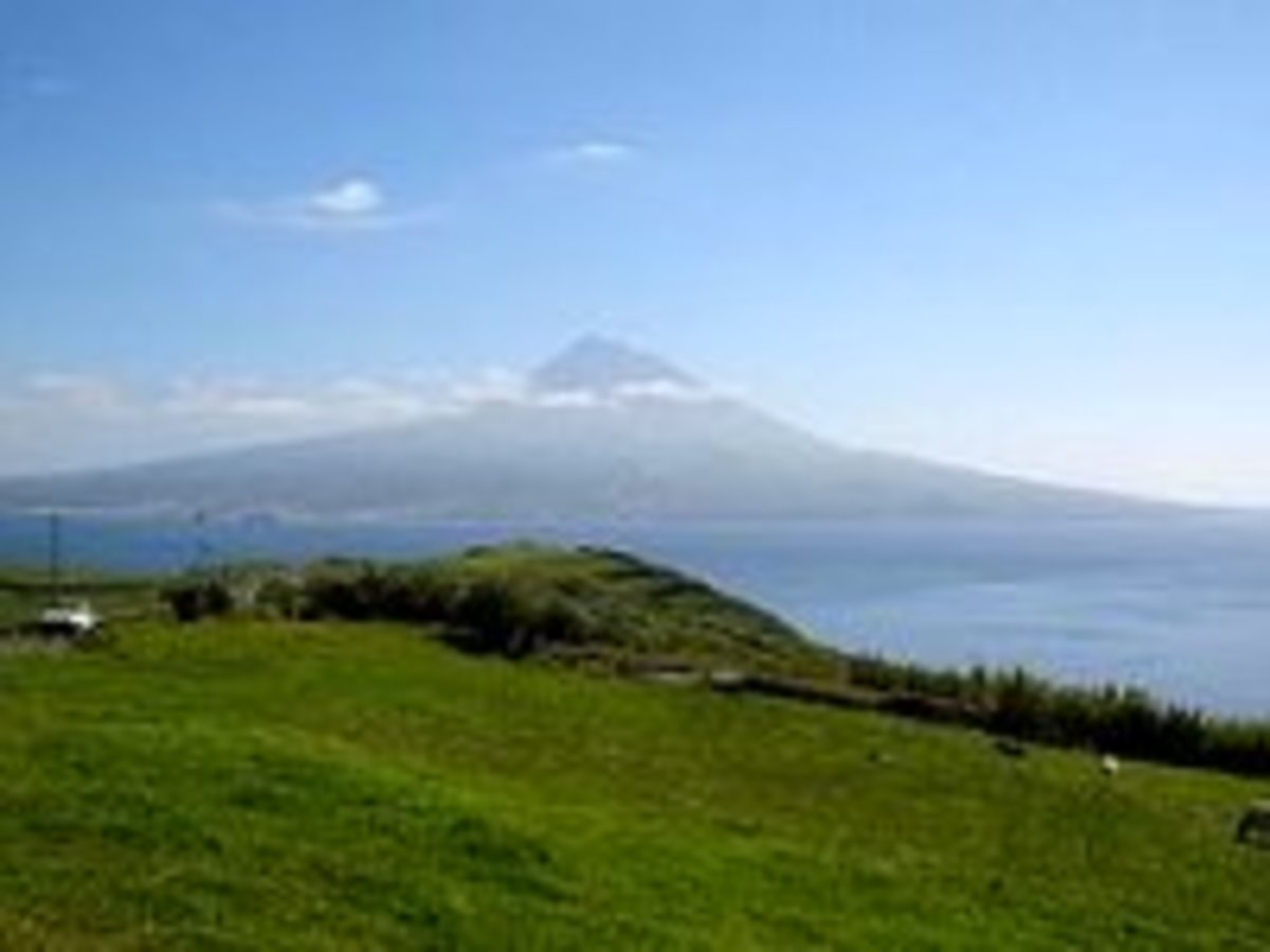 Mt. Pico, the Azores highest mountain rises above the island of the same name, as seen from Faial Island.