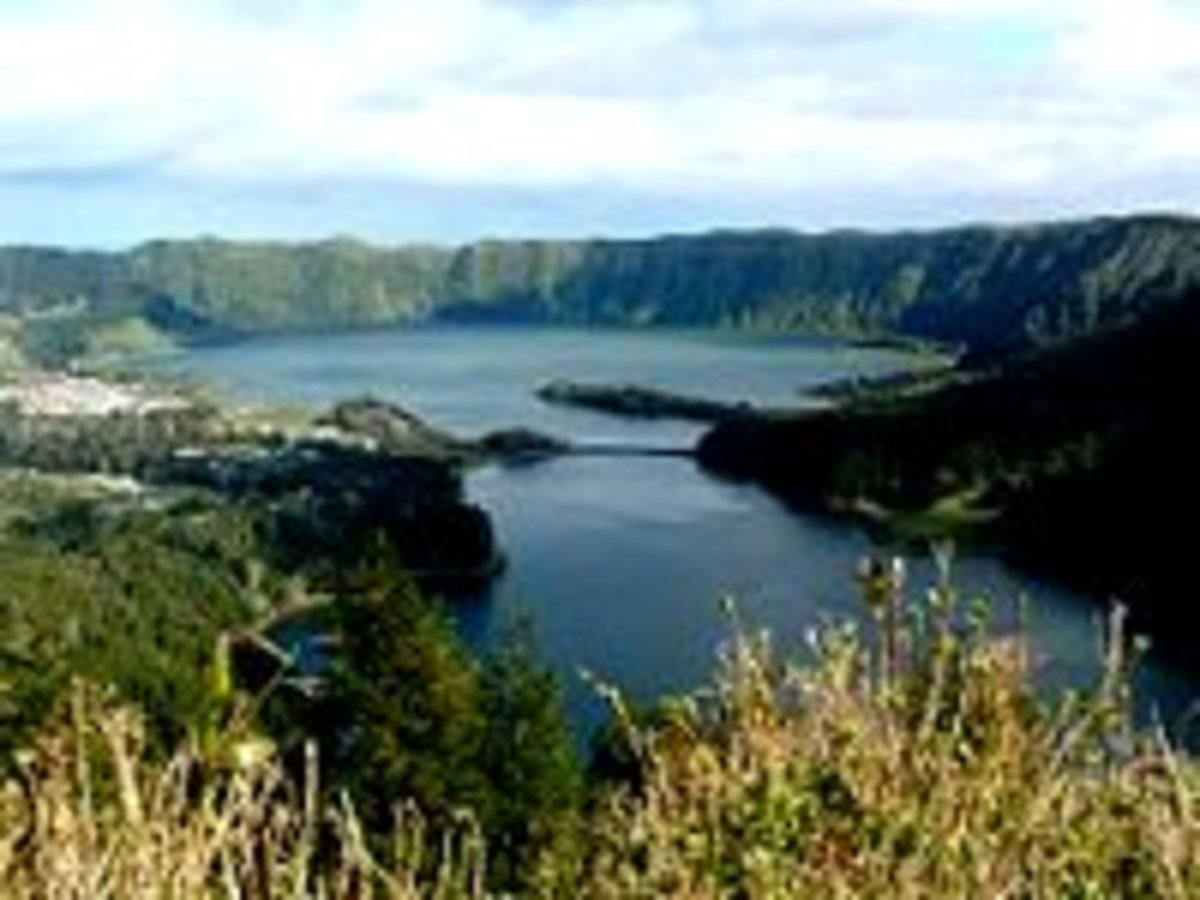 Sao Miguel Island's Lagoa das Sete Cidades (Seven Cities) is a lake formed in a volcanic crater.