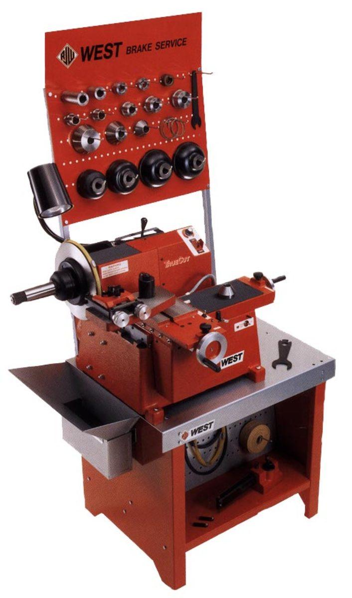 Auto repair shop machinery. West brake lathe.