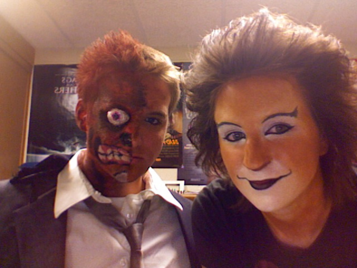 Two-face and I in our completed halloween looks.