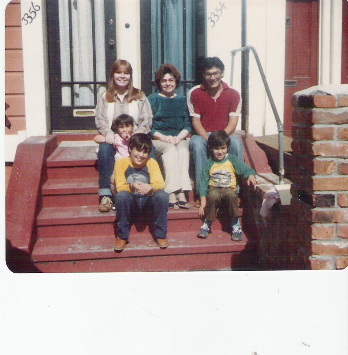 On our stoop with Aunt Vicky