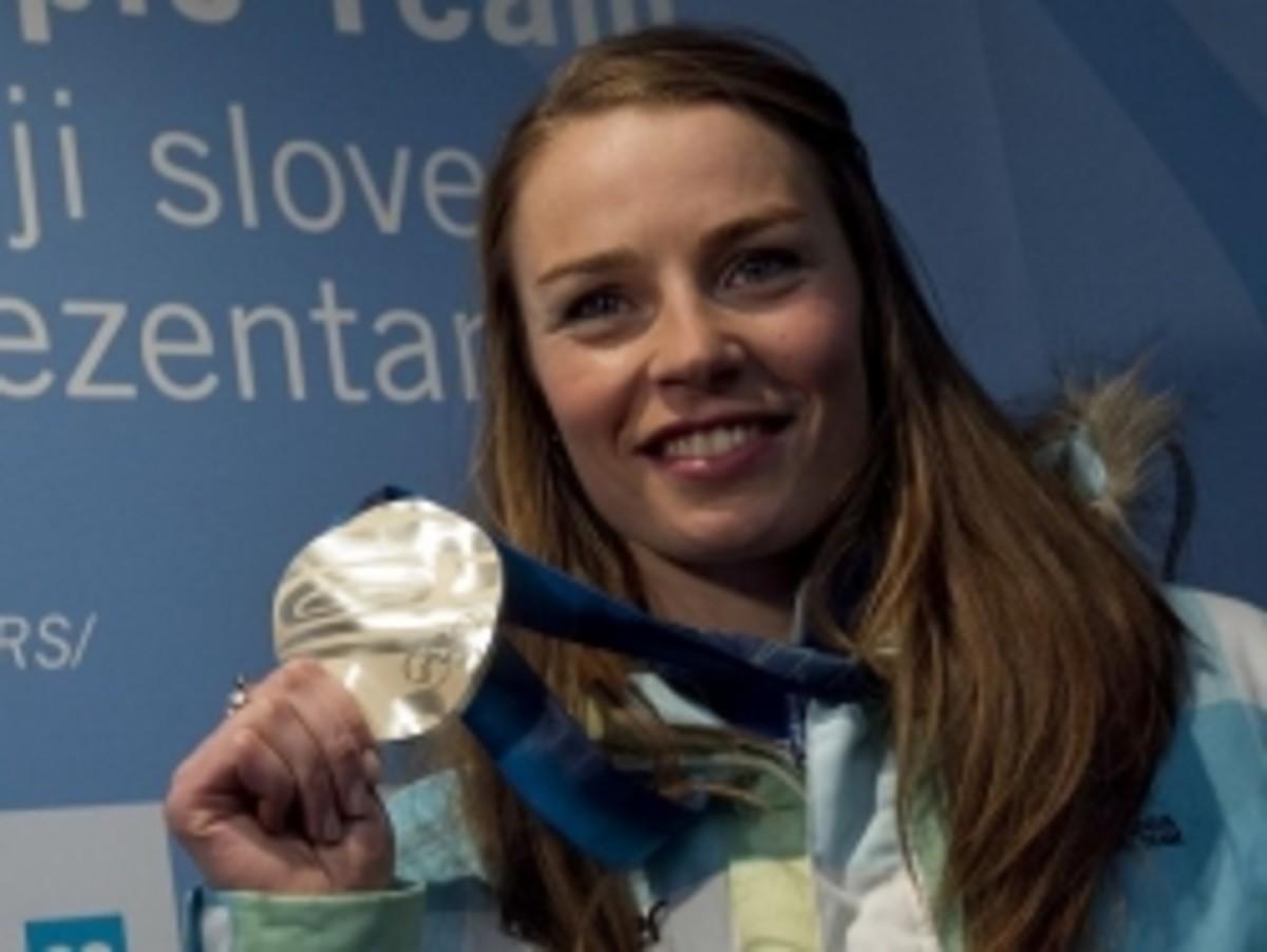Tina Maze - silver madel in Giant slalom in Vancouver 2010.