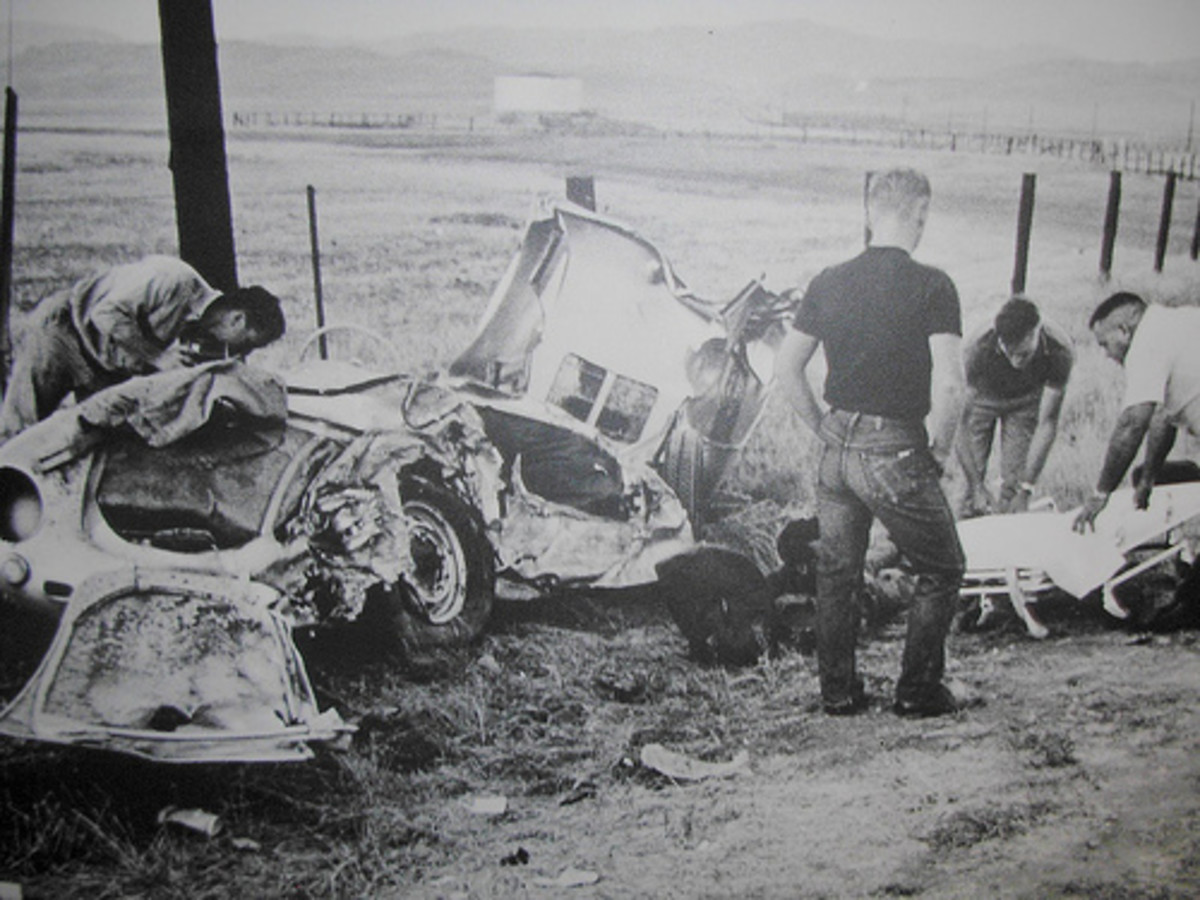 Here is a photo from the car crash that James Dean was killed in.