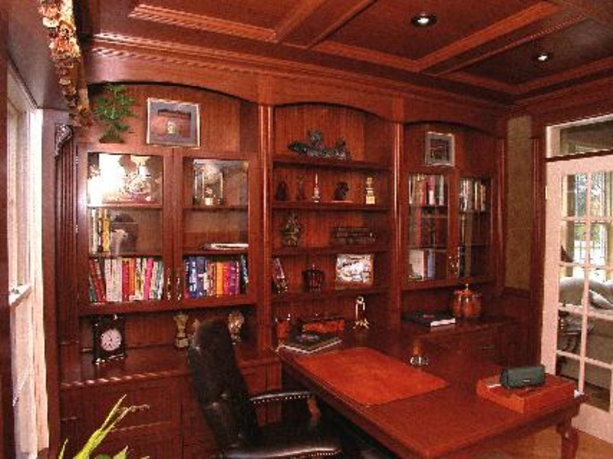 rich woodwork in elegant library