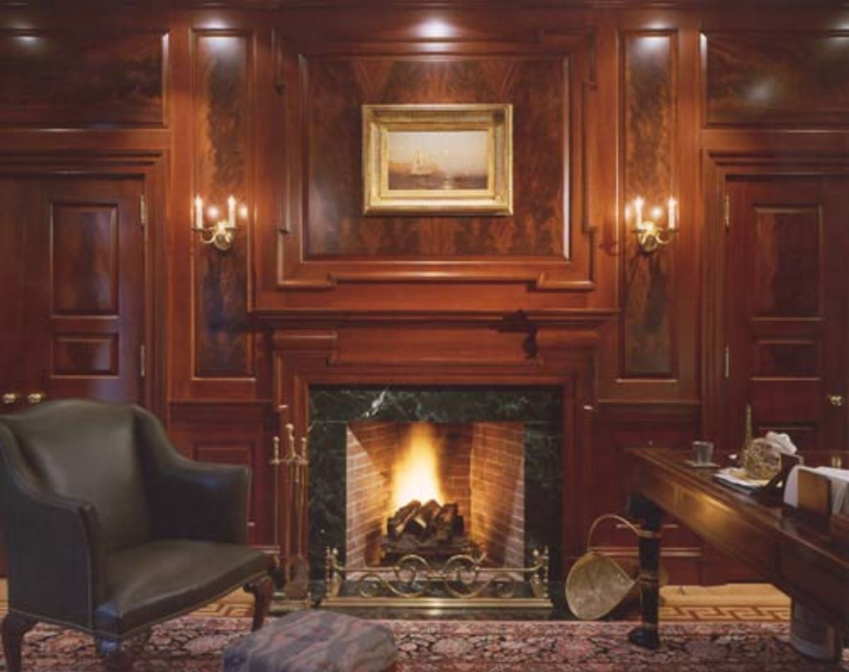 flame mahogany fireplace surround with extensive molding