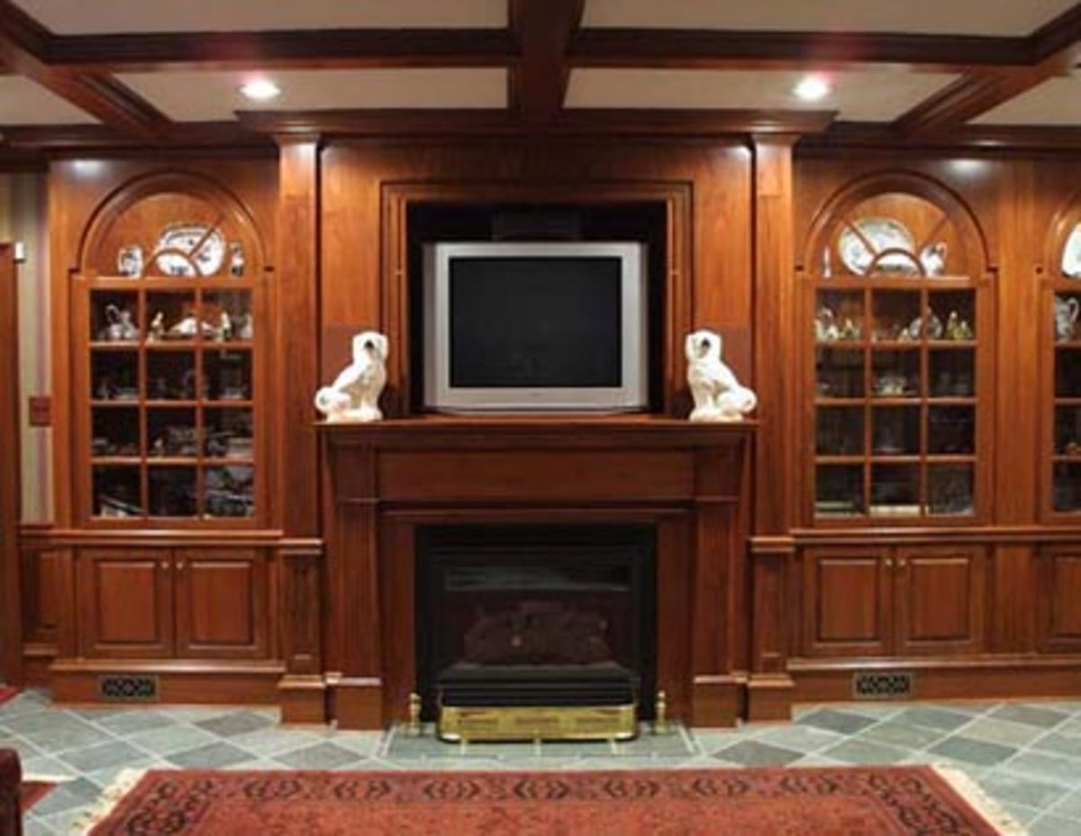 arched book cases enclosed with television media center in rich warm, woodwork