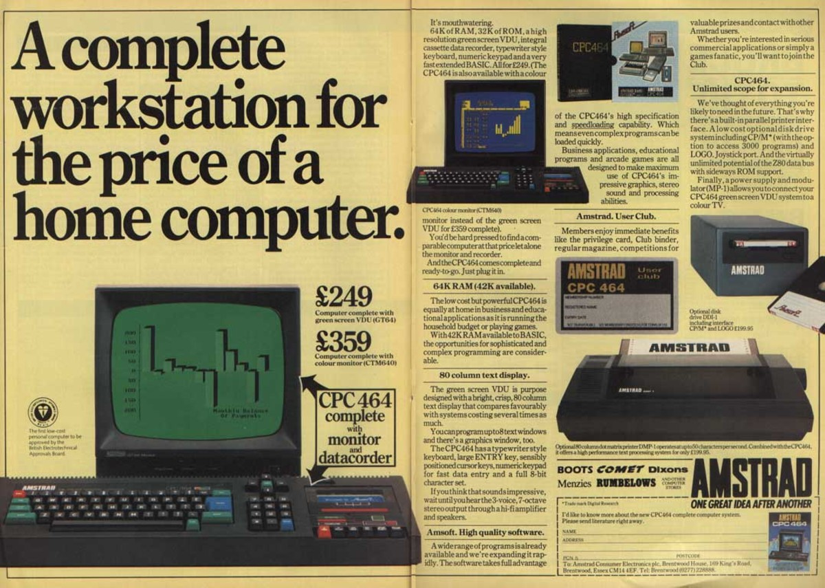 This advertisement highlighted the capabilities of the Amstrad CPC 464