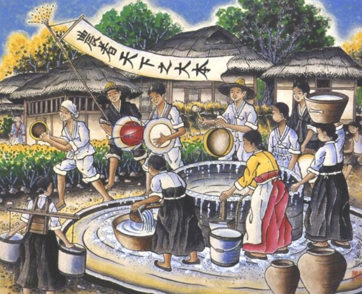 "Korean villagers performing ""Nong-ak"". Traditional farmers' band music and dance."