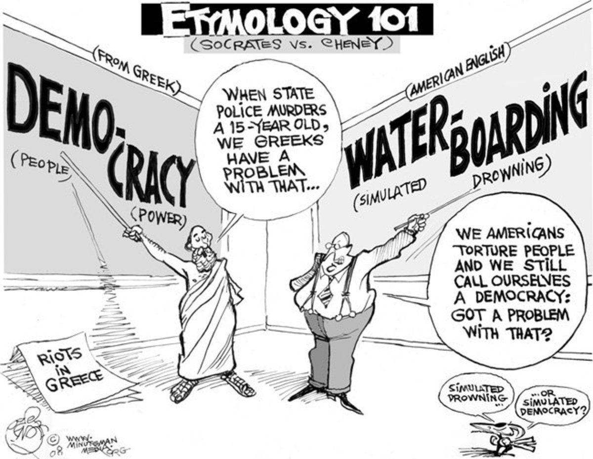 A timely political cartoon about Etymology.  Notice how the way the word has changed is used to comment upon society.