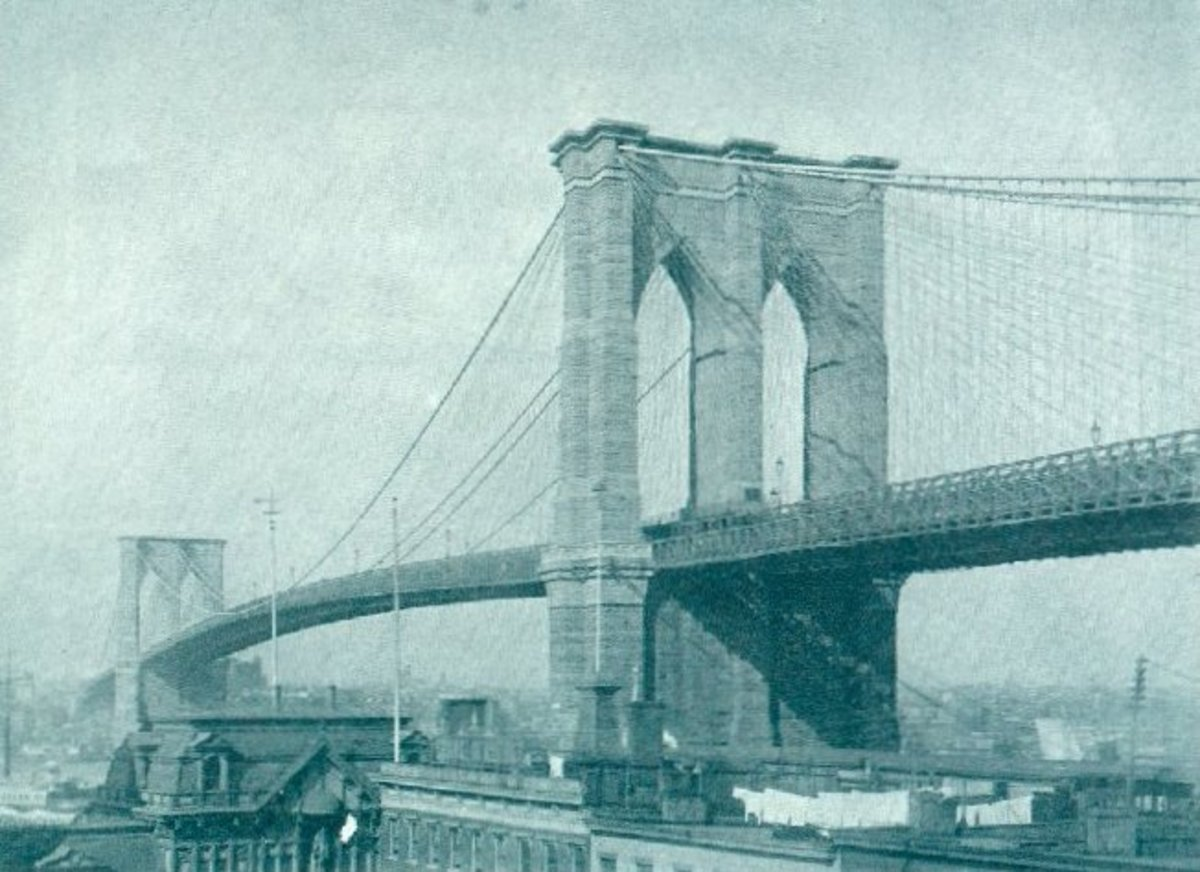 Here is a photo of the Brooklyn Bridge near the time it was completed in 1883.
