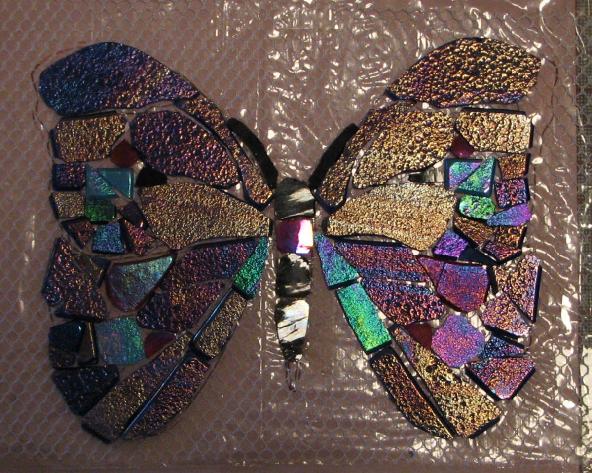 This mosaic on mesh is going to another Florida butterfly installation.