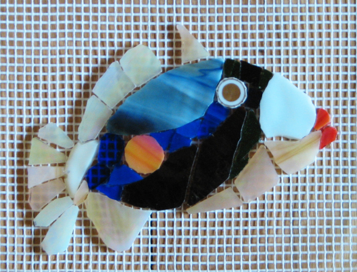 """August 2015, """"Golden Eye"""" for the fish mosaic mural to be installed in Toms River, NJ"""