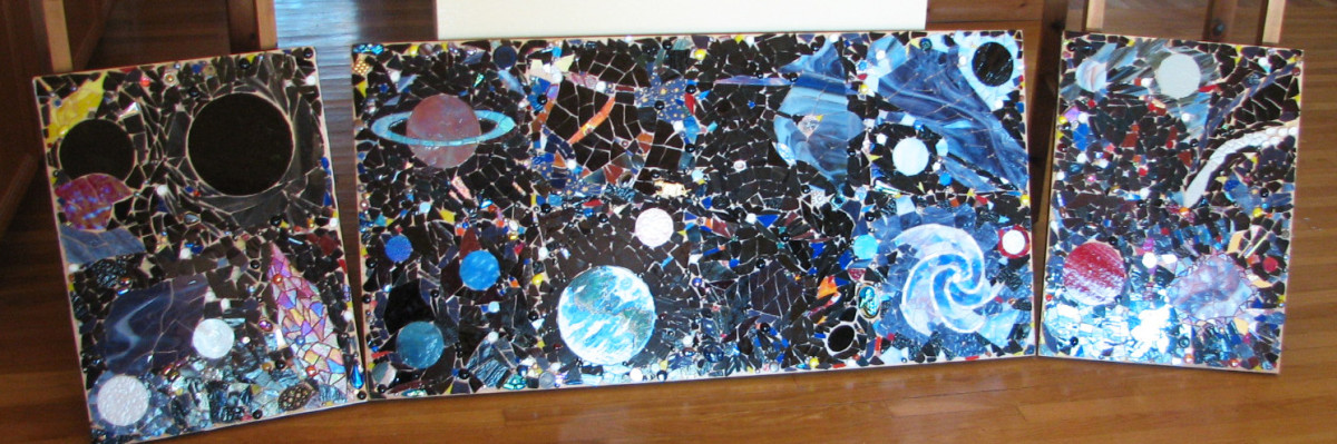 "Space mosaic ready to grout (with black sanded grout), done on eighteen 12"" squares of mesh, then transferred to a substrate 7 feet x 2 feet.  Stained glass, vintage costume jewelry, dichroic cabochons, mirror, pearls, amethyst"