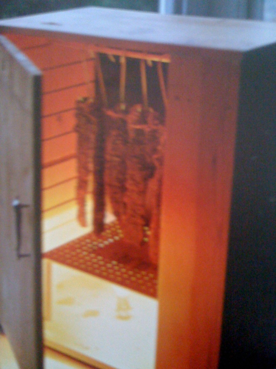 Note the perforated wood that I have used to protect the light bulb in this biltong drying box.