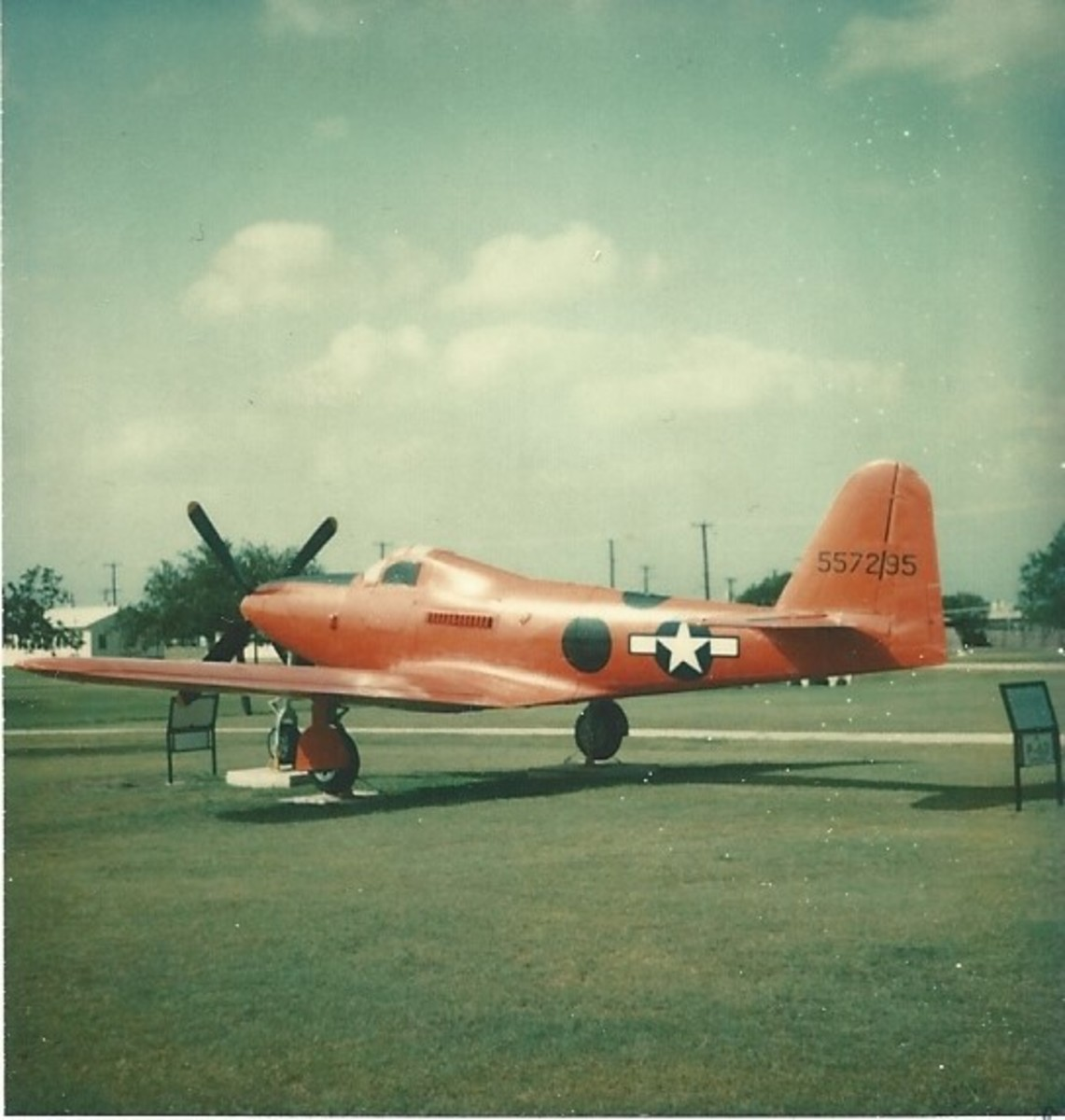 A P-63 at Lackland AFB, TX, June 1977.  A revised version of the P-39 was the P-63 Kingcobra.
