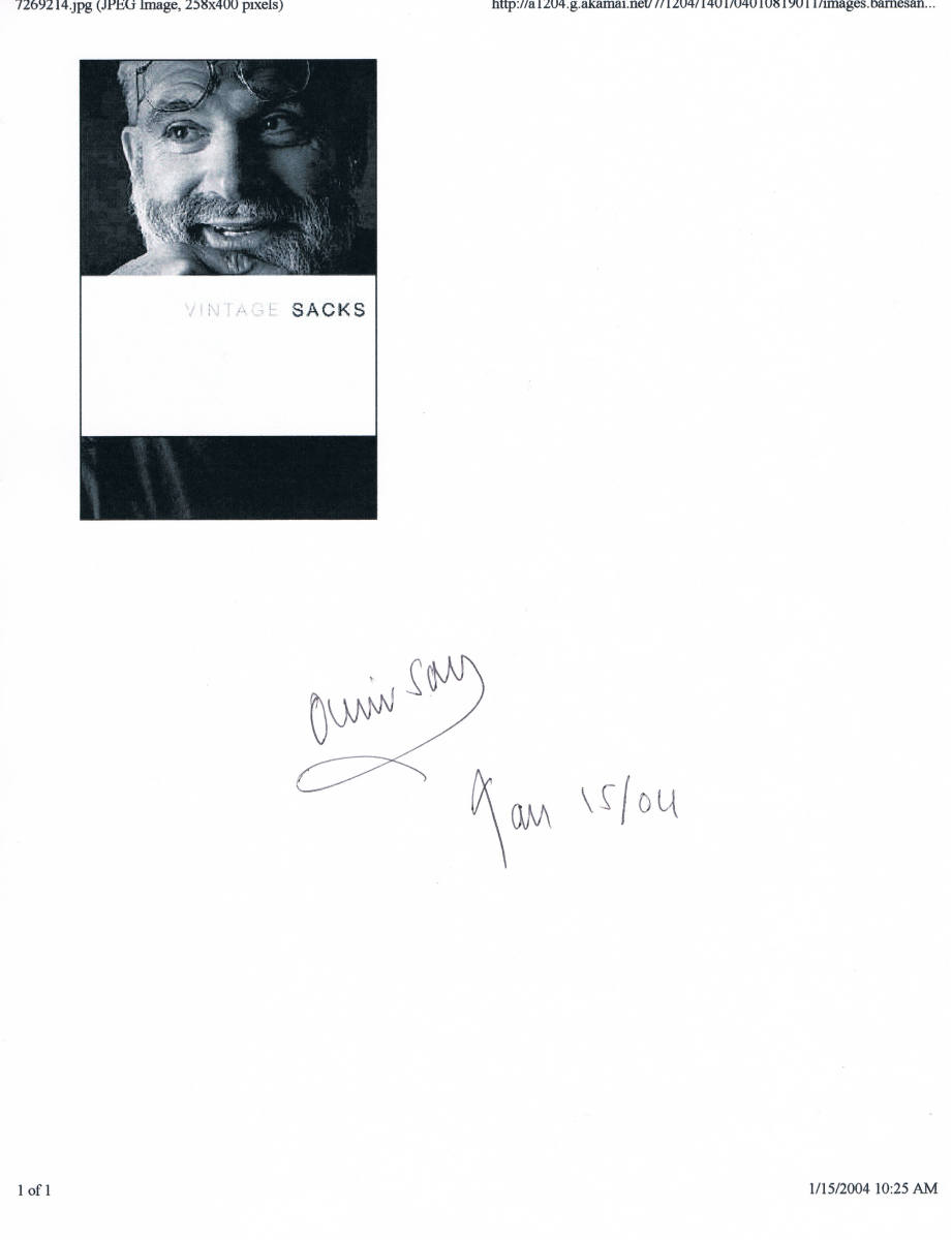 On January 15, 2004, I helped videotape Dr. Sacks again at the Union Square B&N. In front of another huge crowd, this time he was there to discuss his book titled, Vintage Sacks.