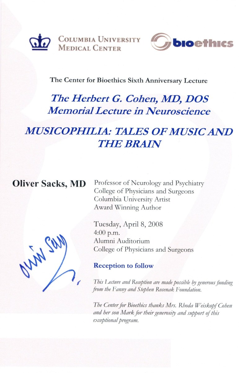 On April 8, 2008, I covered Oliver Sacks when he spoke about Musicophilia, again.