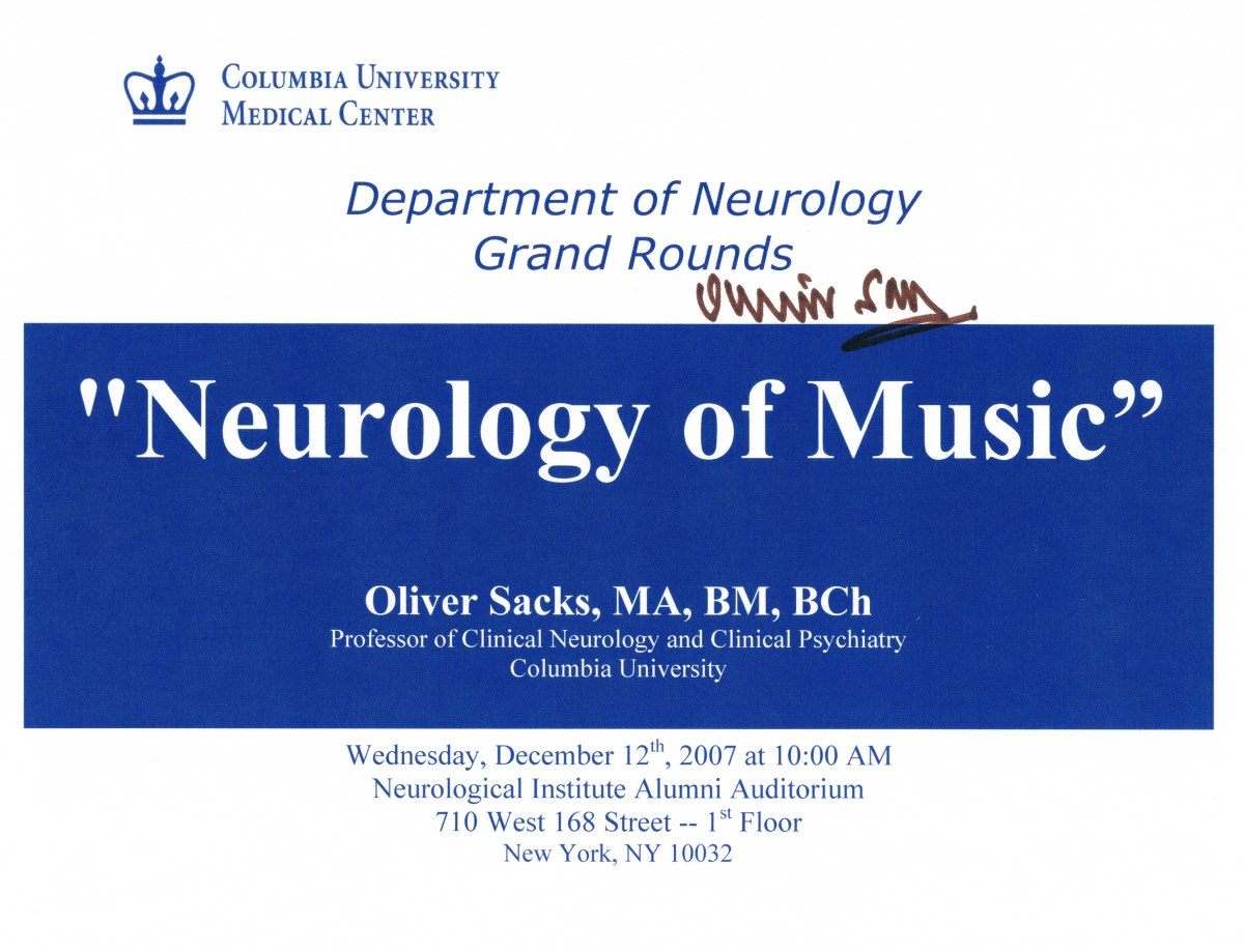 On December 12, 2007, I again covered Dr. Sacks at a talk of his at Columbia University Medical Center.