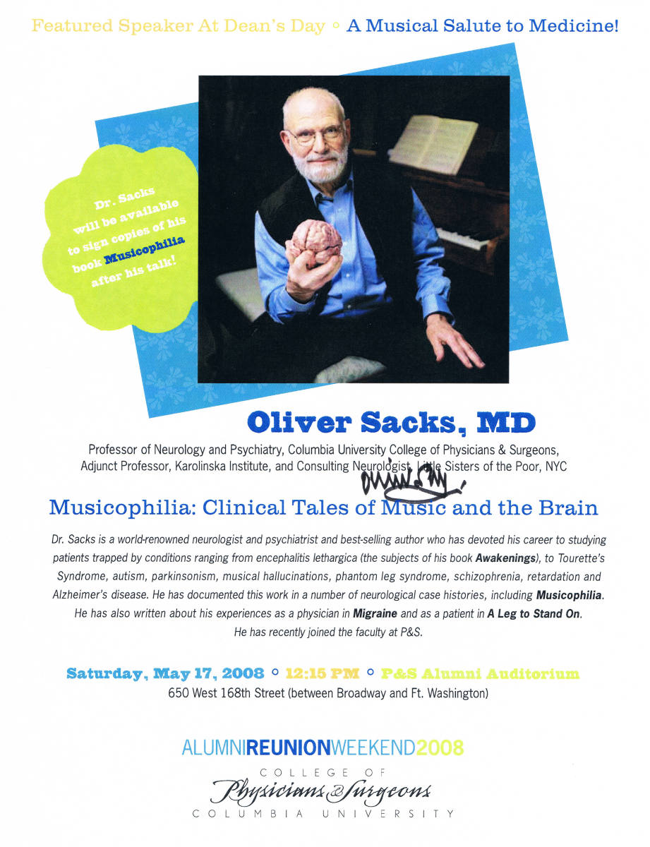 To mark this talk of his, I asked Dr. Sacks to sign two fliers and a card. (See above and below.)