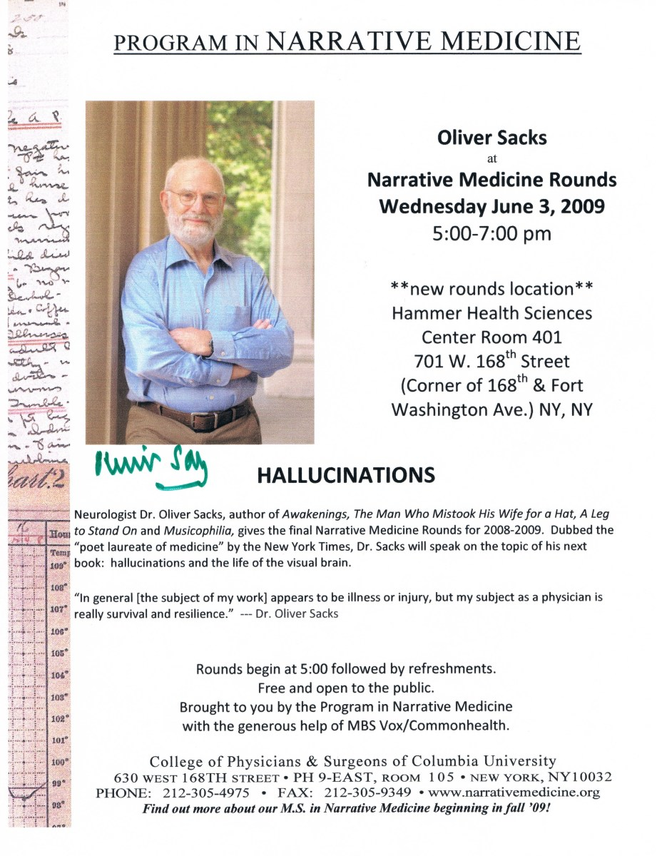 On June 3, 2009, Sacks spoke about Hallucinations. (Here and below.)