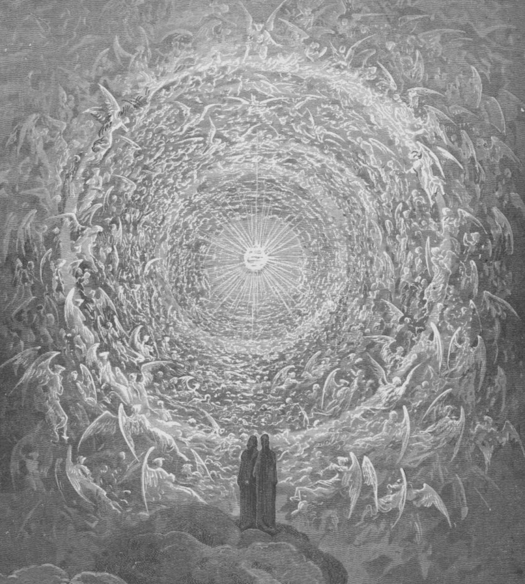 Dante stands in the presence of God, depicted as a shining white light at the end of a tunnel lined with adoring angels.