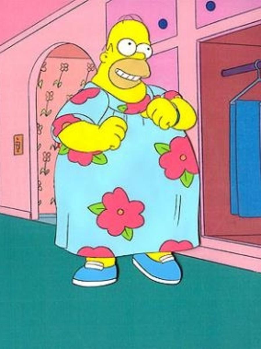 It's rumoured that Homer had no underwear on underneath this muumuu while filming this scene.