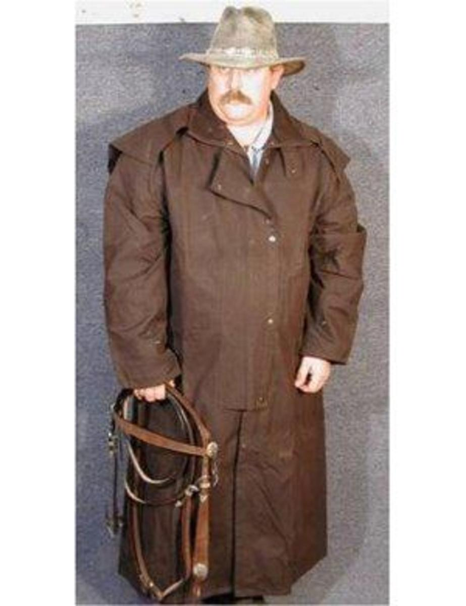 Australian Extra Large Brown Oilskin Duster - Riding Coat