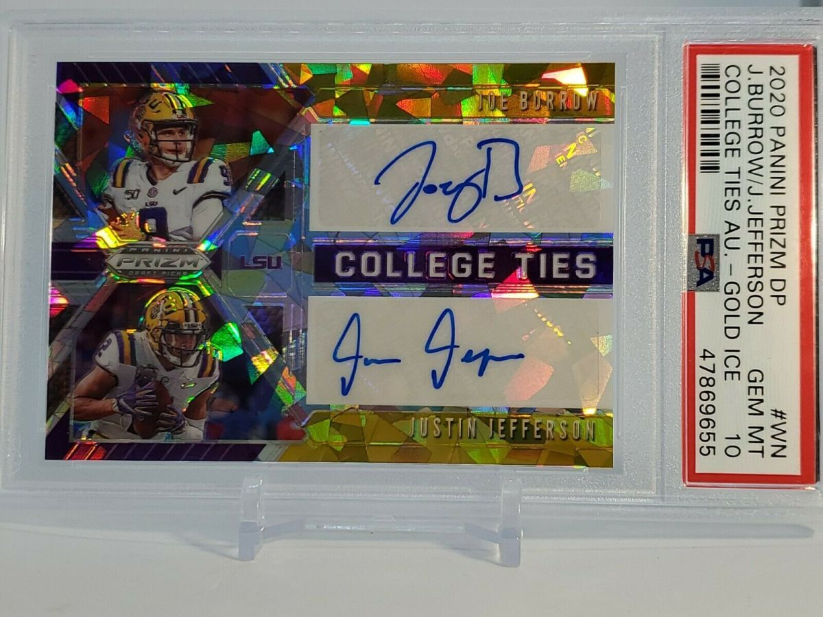 According to Ebay, this card was listed for $6k and was sold on a best offer. Neither player has done anything in the NFL. Further, dual signatures usually devalue cards because usually one player ends up being a dud.