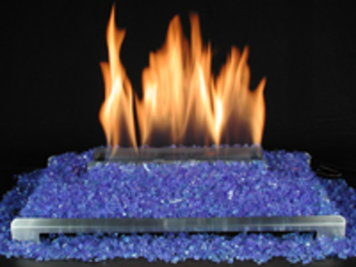 ventless gas fire glass fireplace with blue glass.