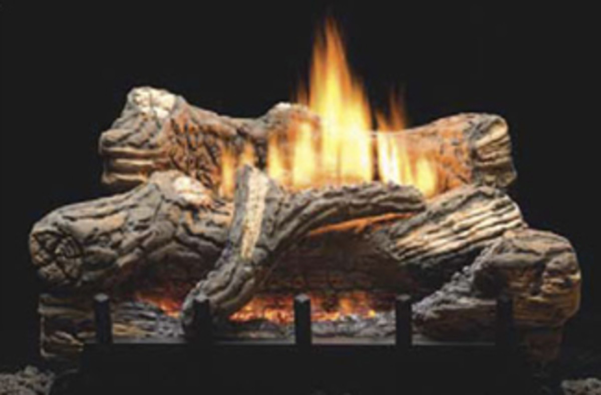 empire aged oak ventless gas fireplace logs with unvented slope burner that can also be used in a vented gas fireplace.