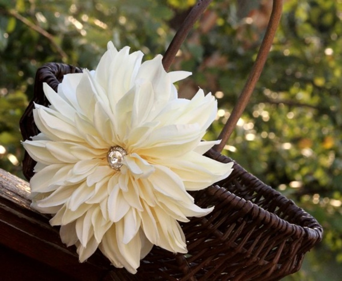 Very chic flower girl basket.  The silk flower has a beautiful jewel in the center for a tiny bit of sparkle.