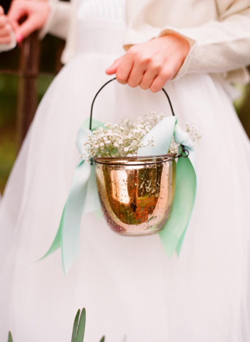 Handmade copper basket with beautiful ribbon
