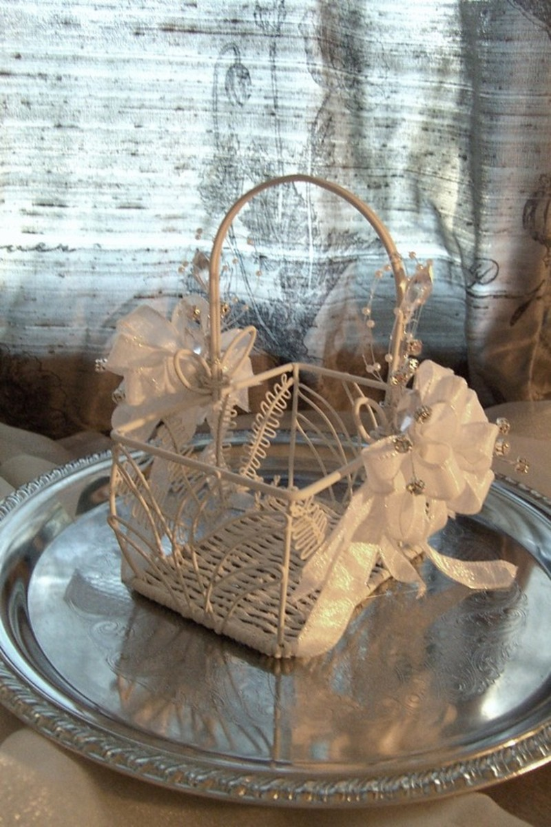 Vintage-inspired flower girl basket