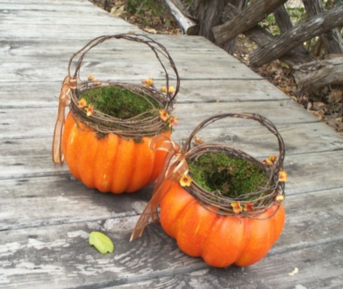 Pumpkin flower girl baskets - perfect for Halloween