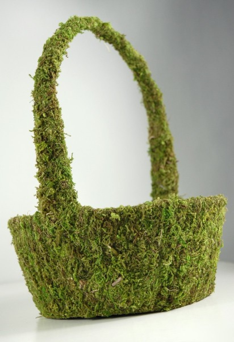 Moss flower girl basket - florists can apply fresh flowers where the handles meet the basket.