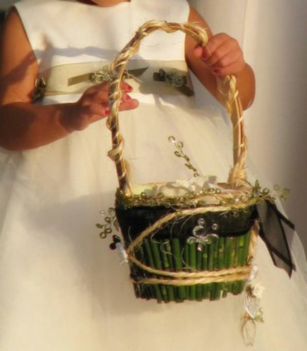 Fresh flower girl basket - simple and green