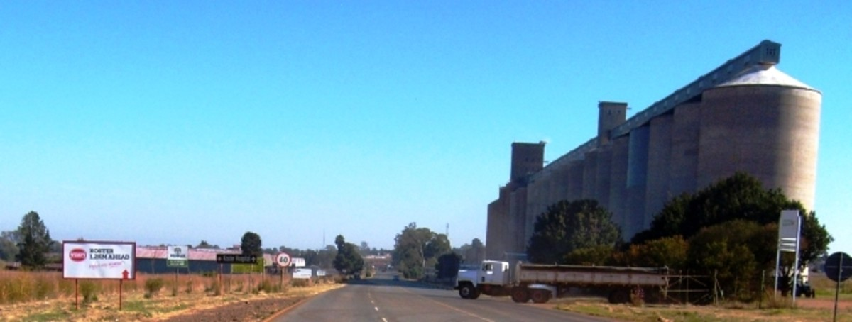 Grain elevators in Koster, North-West Province, South Africa (Almost every town in this region has silo's like these!)