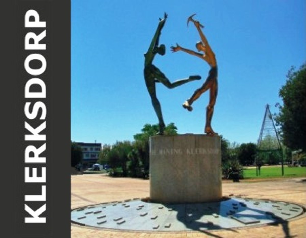 Klerksdorp - distinct statue representing the main economic resources of the region: The gold mining industry and agriculture