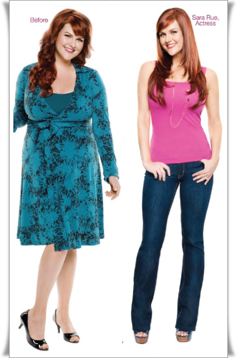 Actress Sara Rue before and after she lost 50 lbs on Jenny Craig. Photo:  Courtesy of Jenny Craig