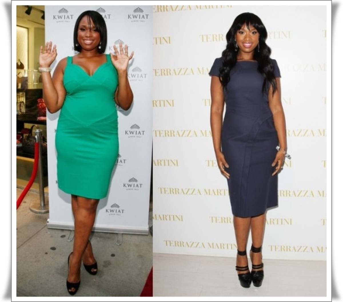 Singer and Academy Award winning actress Jennifer Hudson - before and after she lost 35 lbs on Weight Watchers.  Photo: courtesy of fashiondailybomb.co