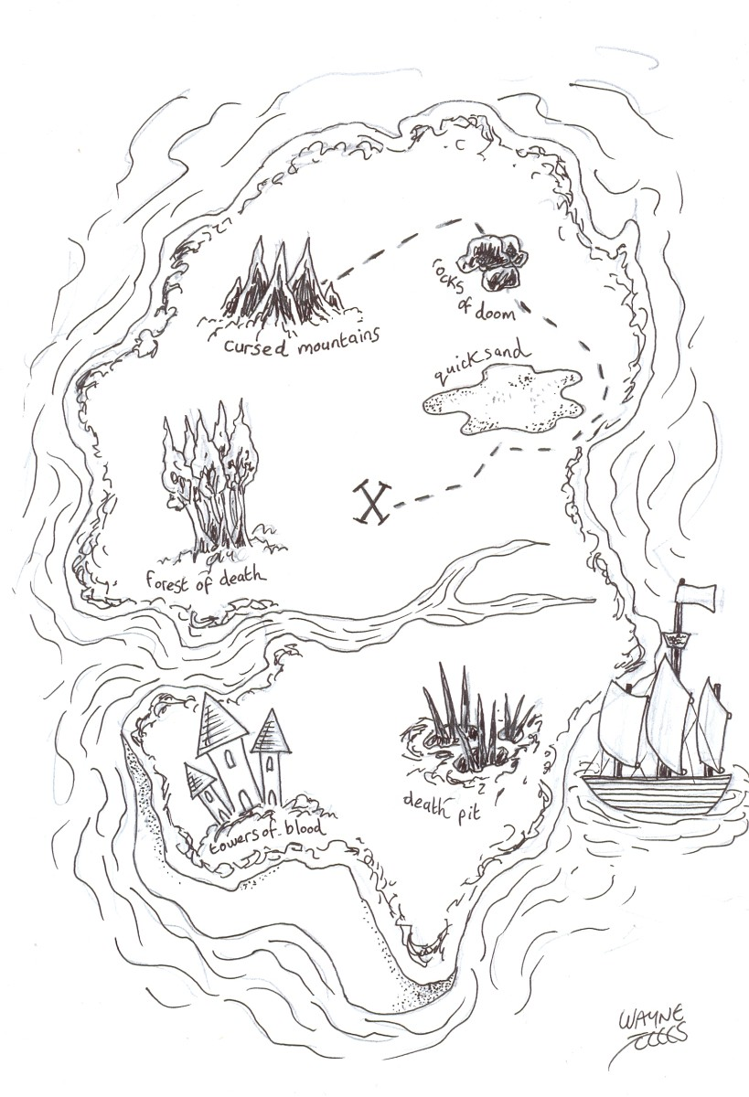 Final inked drawing of the treasure map Copyright Wayne Tully.