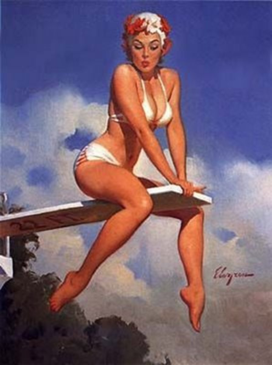 Vintage Swimmer in White Bikini with Swim Cap Sitting on a Diving Board