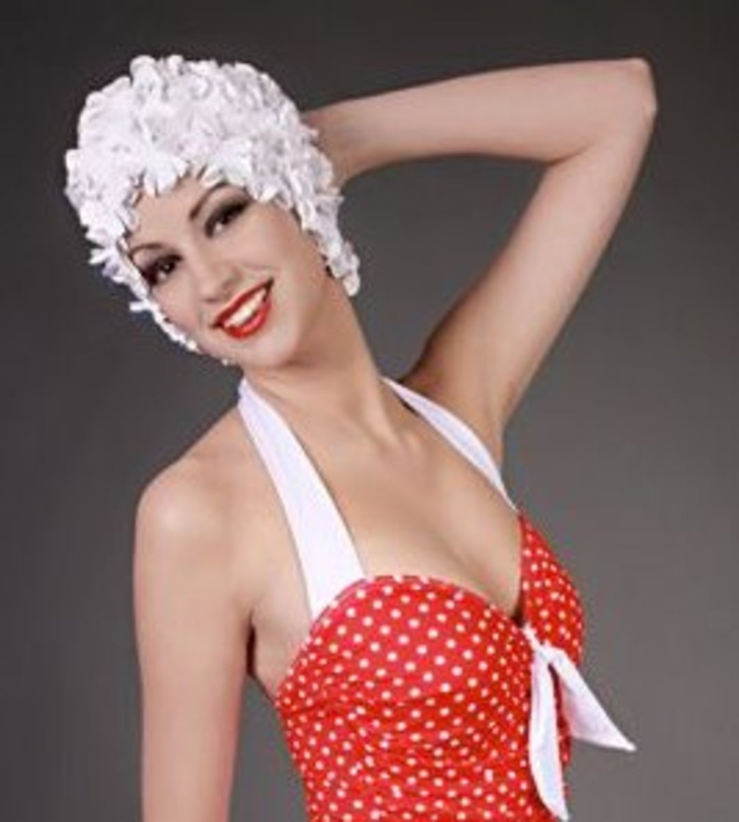 swim cap in white with model in red bathing suit