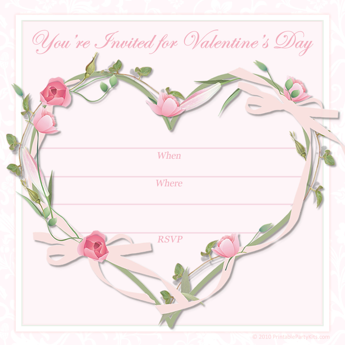 "Pink flowered heart free valentine party invitation template -- ""You're Invited for Valentine's Day"""