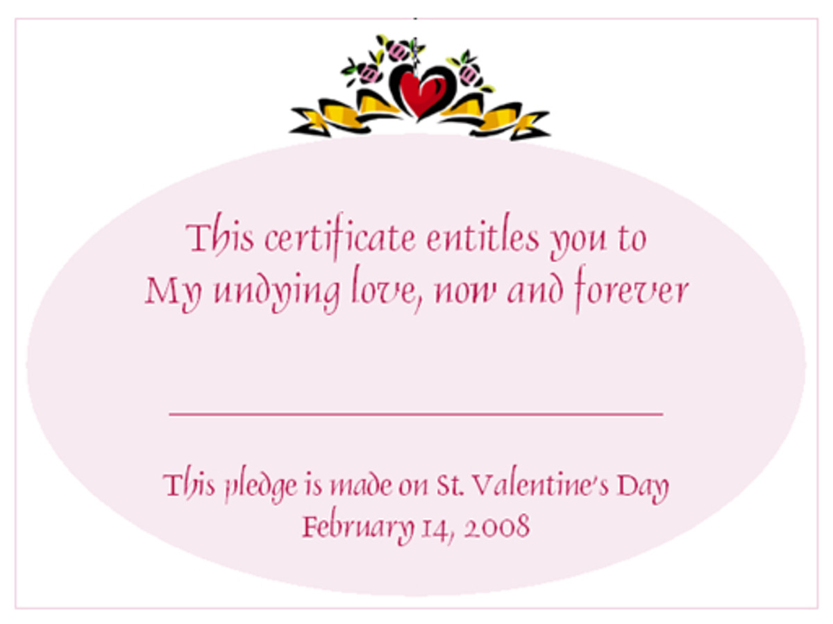 Valentine's Day Love Certificates Design 1
