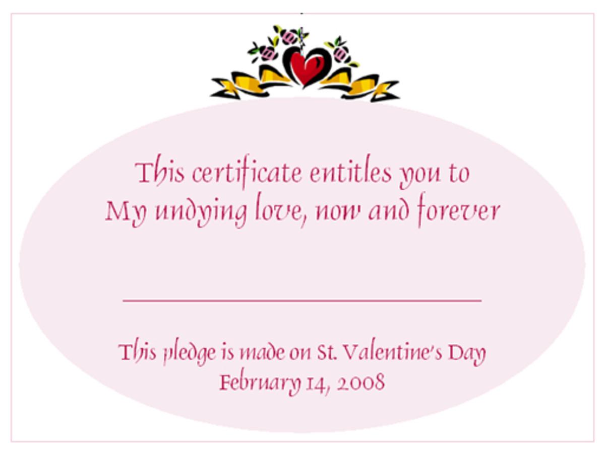 Free Valentine love certificates