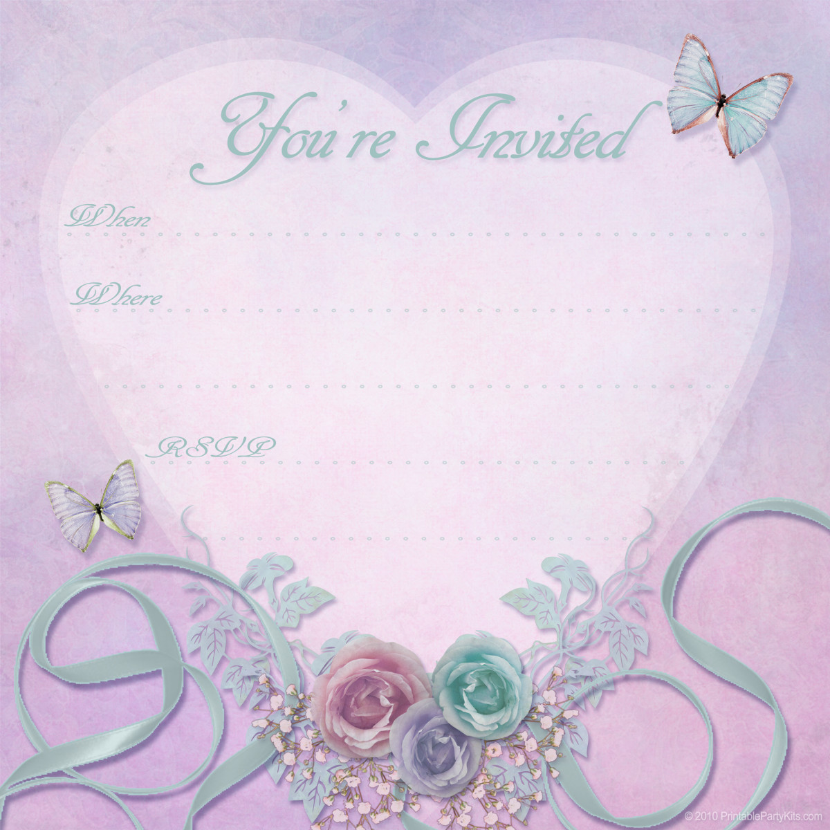 "Pink, purple and teal free valentine party invitation template -- ""You're Invited"""